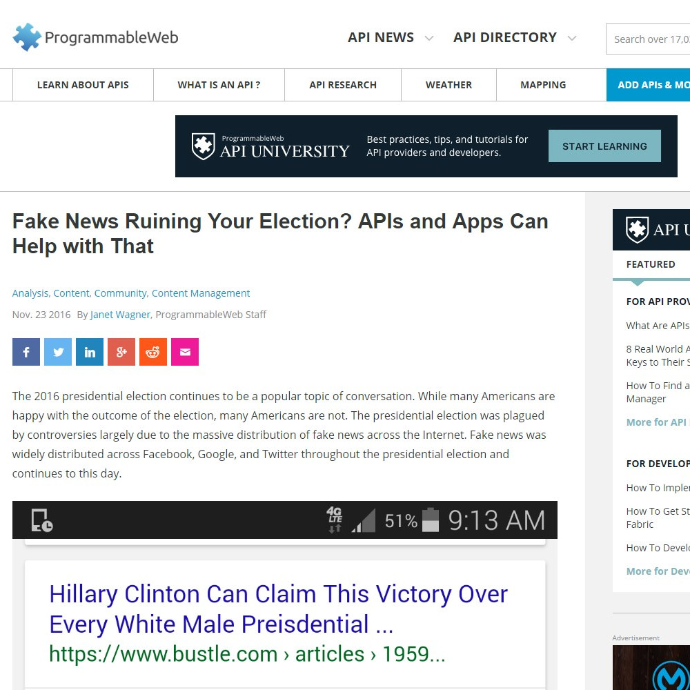Fake News Ruining Your Election? APIs and Apps Can Help with That