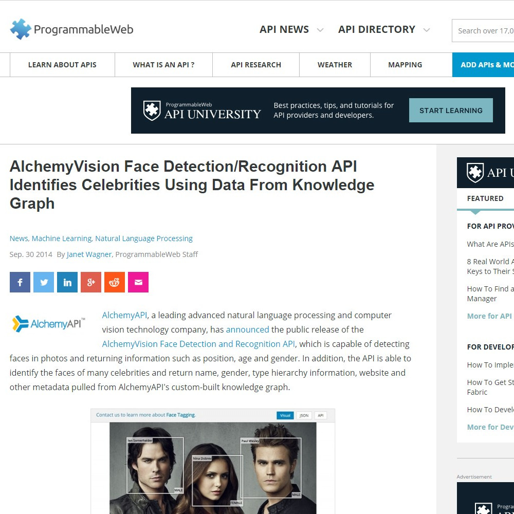 AlchemyVision Face Detection/Recognition API Identifies Celebrities Using Data From Knowledge Graph