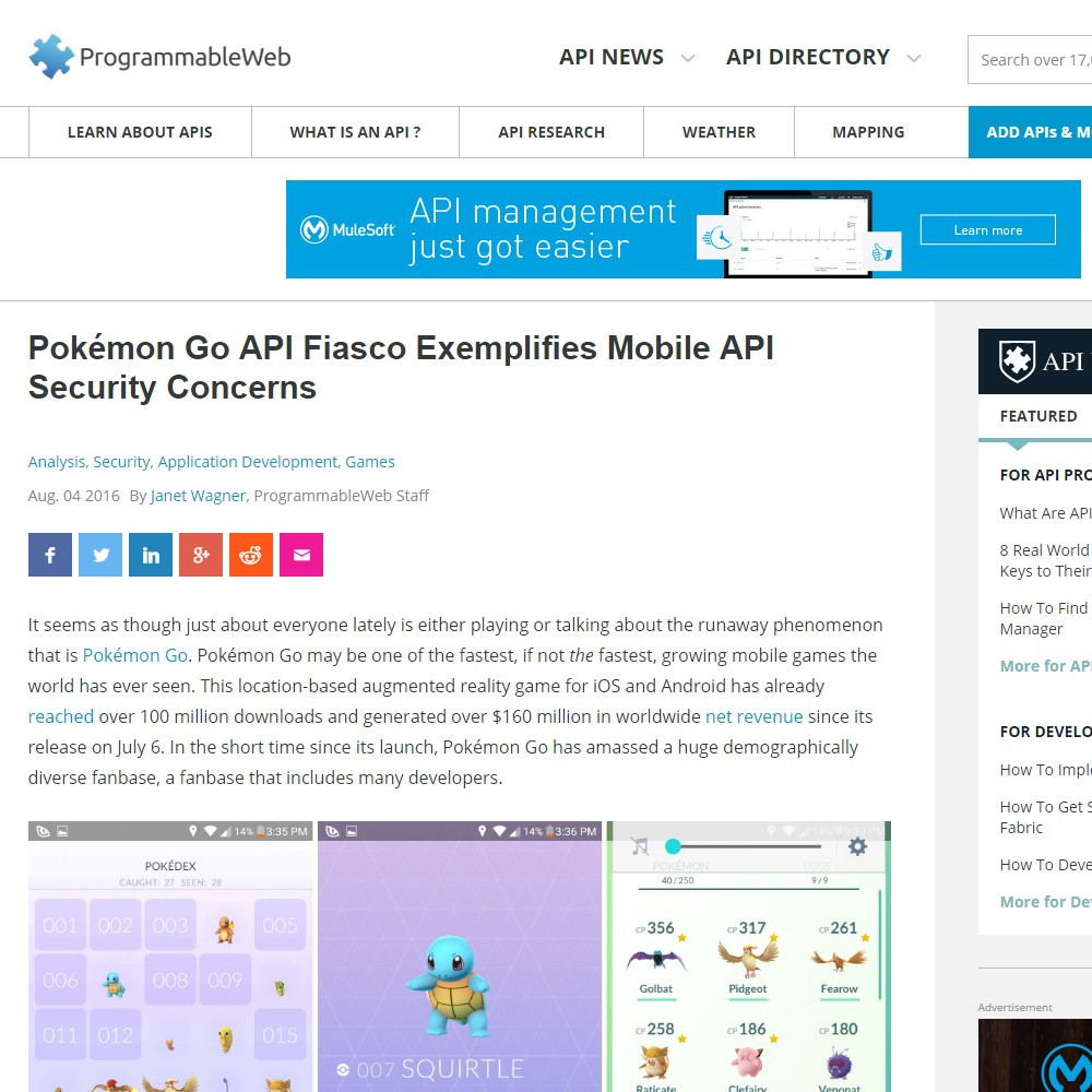 Writing Project | In-Depth Article | Pokémon Go API Fiasco