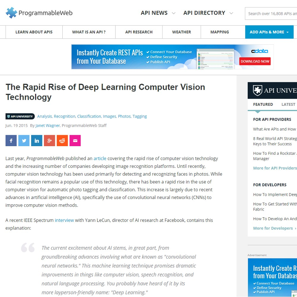 The Rapid Rise of Deep Learning Computer Vision
